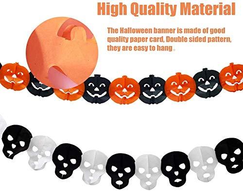 Xinmeng Striscione Halloween, 5 Pezzi Banner di Decorazione Halloween, Ragni, Pipistrello, Zucca, Fantasmi, Cranio, Forniture per Feste di Halloween per Casa Stregata Party Decorazioni