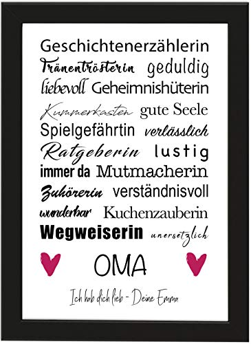 PICSonPAPER Personalisiertes Poster DIN A4 OMA, Geschichtenerzählerin, gerahmt mit schwarzem Bilderrahmen, Geschenk, Poster mit Rahmen, Personalisierbare Poster (Oma)