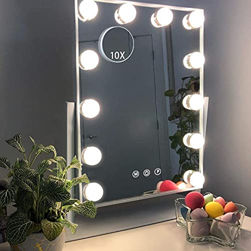 Hansong Makeup Mirror with Lights,Vanity Light-up Professional Mirror,Detachable 10x Magnification,3 Color Lighting Modes, Cosmetic Mirror with 12 Dimmable Bulbs