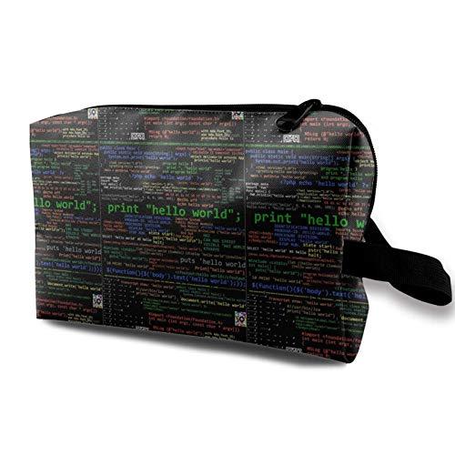 Hdadwy Make-up-Tasche Viele Programmiersprachen Tragbare Kosmetiktasche Reisekosmetik-Tasche Große Make-up-Tasche wasserdichte Organizer-Tasche für Frauen Mädchen
