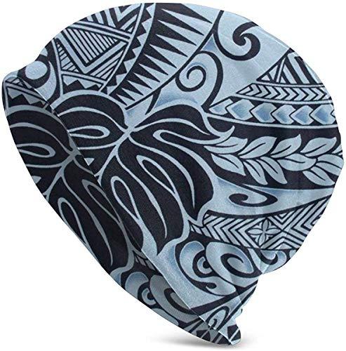 ZharkLI Gorro elástico unisex con diseño de calavera, polinesia, color azul