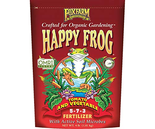 FoxFarm Happy Frog Garden Tomato and Vegetable Soil Dry Plant Fertilizer Mix for Outdoor Organic Plant and Garden Care, 4 Pound Bag (FX14690)