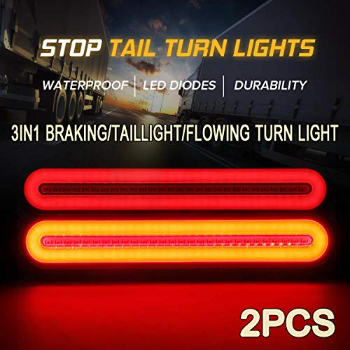 FABOOD F 2X Halo Neon 100LED Stop Flowing Turn Signal Brake Rear Tail Light Trailer Truck