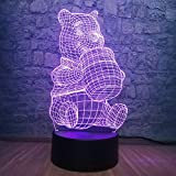 3D Cute Honey Winnie Bear LED Night Light Bulb Decoration Lights Kid Gift Cartoon Novelty Atmosphere Touch Mood Table Lamp Lava (Winnie Bear)