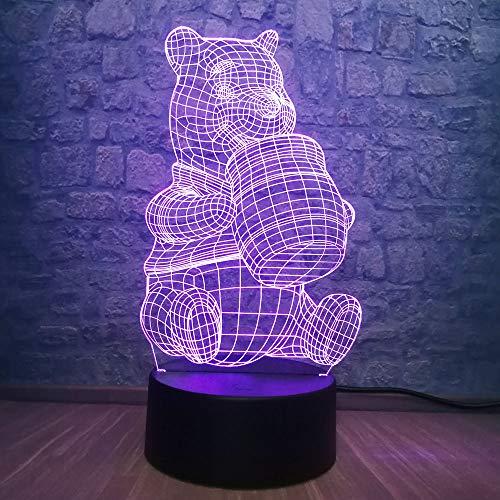 3D Cute Honey Winnie Bear LED Night Light Bulb Decoration Lights Kid Gift Cartoon Novelty Atmosphere Touch Mood Table Lamp Lava (Winnie Bear)