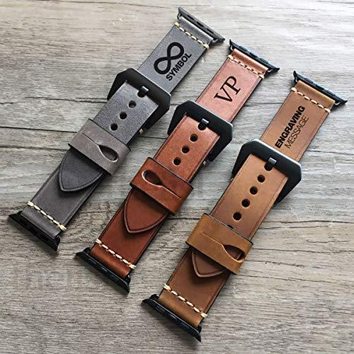 Apple Watch Strap Hand Stitch Vintage echtes Leder Band 38 40 42 44mm iwatch Band Gurt Herren Boyfriend Mann Geschenk Serie 5 4 3 2 1 personalisierte graviert Weihnachtsgeschenk Luxus Premium