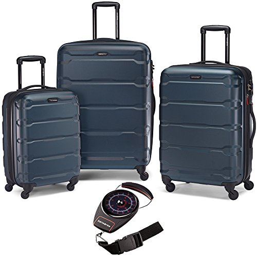 Samsonite 68311-2824 Omni Hardside Luggage Nested Spinner Set 20 Inch, 24 Inch, 28 Inch - Teal Bundle with Manual Luggage Scale