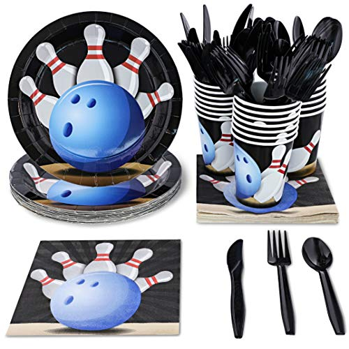 Bowling Birthday Party Supplies, Paper Plates, Napkins, Cups and Plastic Cutlery (Serves 24, 144 Pieces)