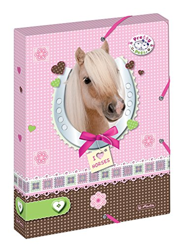 Herlitz 11274727 Heftbox A4 Pretty Pets Pferd, PP, Rückenbreite 4 cm, 2 Gummizüge