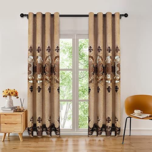 """Luxury Coffee Chenille Curtain with Embroidered Pattern for Living Room European Curtains for Bedroom,Grommet Top (52"""" W x 96"""" L,Pack of 2)"""