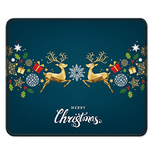 """Auhoahsil Mouse Pad, Square Christmas Moose Design Anti-Slip Rubber Mousepad with Stitched Edges for Office Gaming Laptop Computer Men Women, Beautiful Custom Pattern, 11.8"""" x 9.8"""", Xmas Gift Deer"""
