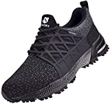 SUADEX Zapatos de seguridad para hombre y mujer, ligeros, antideslizantes, transpirables, con puntera de acero, color Negro, talla 44 EU