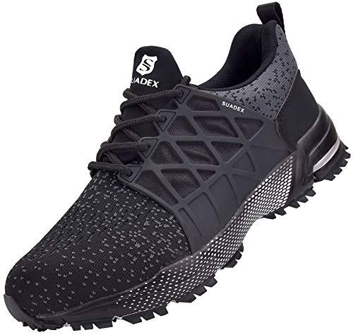 SUADEX Zapatos de seguridad para hombre y mujer, ligeros, antideslizantes, transpirables, con puntera de acero, color Negro, talla 41 EU