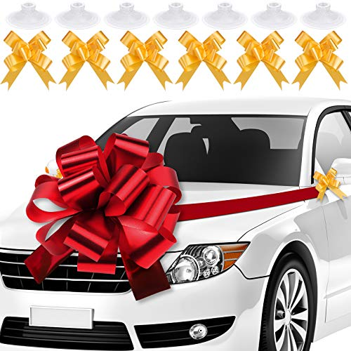 Aneco Big Car Bow Red Car Bows Gift Bows 20 Inches Christmas Giant Birthday Car Bow Party Bow with 20 Feet Ribbon Mini Golden Bow Christmas Bows for Cars