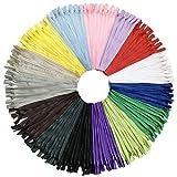 DOITEM 75 pz 40 cm / 15 Pollici Invisibile Multicolore Bobina di Nylon Cerniere per Cucito e Artigianato 15 Colori