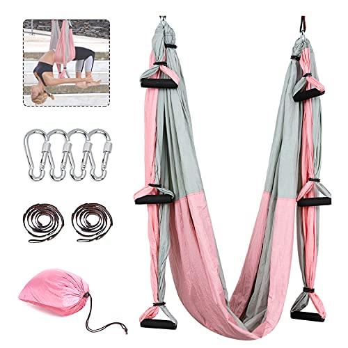 Tumax Yoga Hängematte Set, Decke Hängende Yoga Schaukel Grau & Rosa, Aerial Yoga Tuch Hängematte,für Fitness Yoga Anti-Schwerkraft-Swing, Anti - Gravity - Yoga Set, Yoga-Starter Set