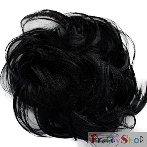 PRETTYSHOP Haarteil Haargummi Hochsteckfrisuren Brautfrisuren Voluminös Leicht Gewellt Unordentlich Dutt Schwarz G1B