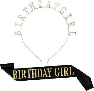 DaveandAthena Birthday Tiara Gold Birthday Girl Headband with Birthday Girl Sash for Party Hair Accessories