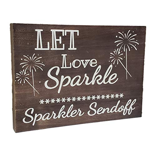 JennyGems Real Wood Sign - Let Love Sparkle Sparkler Sendoff - Sparkler Send Off - Sparkler Send Off Wooden Wedding Signs