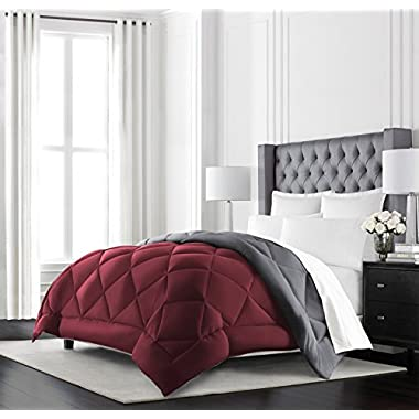 Beckham Hotel Collection Goose Down Alternative Reversible Comforter - All Season - Premium Quality Luxury Hypoallergenic Comforter - Full/Queen - Burgundy/Grey