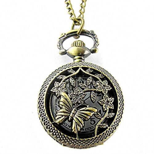 KX-YF Reloj De Bolsillo Patrón De Flores De Mariposa Hueca Reloj De Bolsillo De Cuarzo Marrón Redondo Adecuado para Regalos Y Recuerdos.