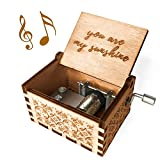 Ucuber You are My Sunshine Music Box - Wood Laser Engraved Vintage Cute Box Best Gift for Wife, Son,...