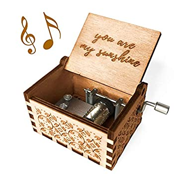 Ucuber You are My Sunshine Music Box - Wood Laser Engraved Vintage Cute Box Best Gift for Wife Son Daughter Dad Mom Girlfriend Wedding Anniversary/Birthday/Christmas/Valentine s Day