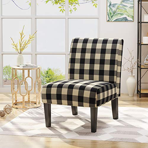 Christopher Knight Home 306411  Kendal Traditional Upholstered Farmhouse Accent Chair, Black Checkerboard, Matte Black