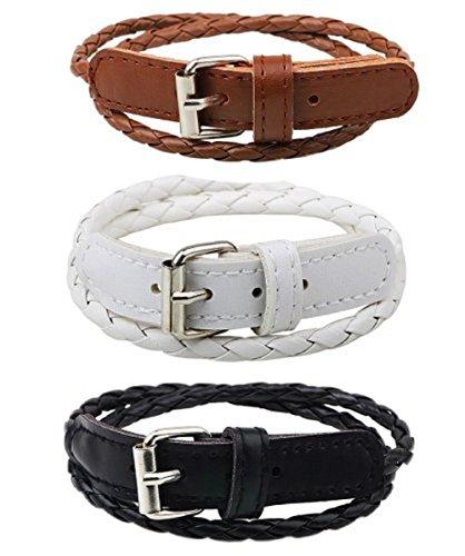Blowin Lot de 3Wholelsale Mens piel hecha a mano trenzado Pulsera Hebilla de cinturón pulsera ajustable negro blanco marrón