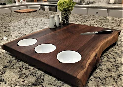 Black Walnut XL Forest-to-Table Double Live Edge Appetizer Board w/ 3 Prep / Dip Bowls. Charcuterie / Cutting / Chopping / Grazing Board. One-Of-A-Kind & Exclusively Distributed. 100% Handmade in USA.