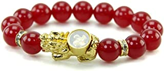 Amulet Bangle Bracelet Gem Stone Talismans PiXian with Lucky Design 4 Turbines Gold, Ruby Stone, Red Agate Stone 10 mm, Au...