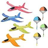 Colmanda 4 Pcs Planos de Espuma + 4 Pcs Juguete de Paracaídas, Planeador de Espuma para niños Juguete Paracaídas Set Mano Lanzamiento Glider Aviones Juguete Volador para niños