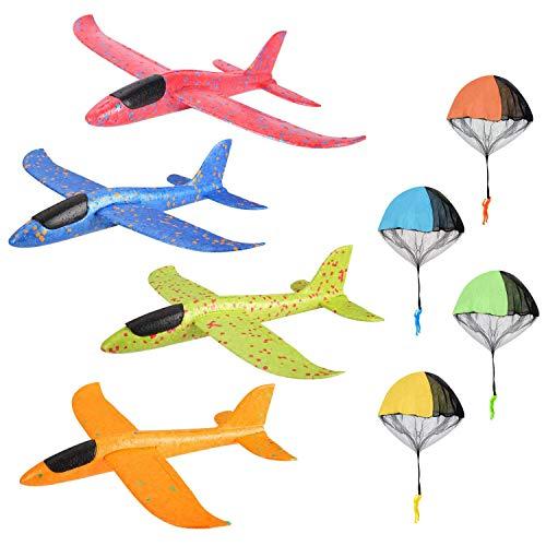 colmanda 4 Pcs Planos de Espuma + 4 Pcs Juguete de Paracaídas, Planeador de Espuma para Niños Juguete Paracaídas Set Mano Lanzamiento Glider Aviones Juguete Volador para Niños (A)