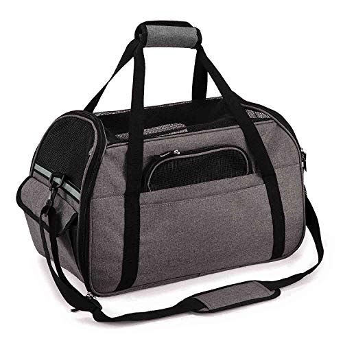 SoftSided Pet Carrier for Dogs Cats Travel Bag Tote Airline Approved Under Seat M Grey
