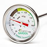 Compost Thermometer - Cate's Garden Premium Stainless Steel Bimetal Thermomet..