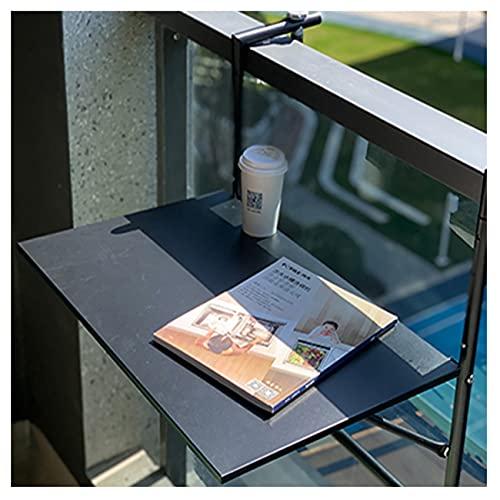 Mesa Auxiliar Plegable Colgante,Mesa de Terraza Plegable para Balcón,Mesa de Café Ajustable, Mesa de Baranda de Metal para Jardín Al Aire Libre