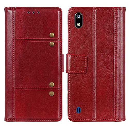 EUDTH ZTE Blade A7 (2019) Hülle, Leder Tasche Brieftasche Handyhüllen Kartenfach Standfunktion Flip Wallet Case Schutzhülle Kompatibel für ZTE Blade A7 (2019) -Rot