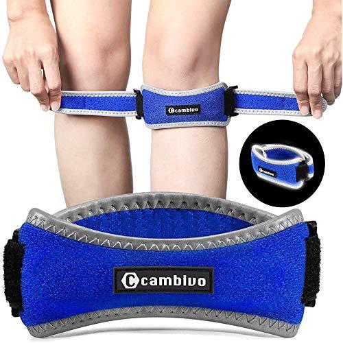 CAMBIVO 2 x Patella Kniebandage, Knieband, verstellbare Patella Band für Damen und Herren beim Sport, Wandern, Fitness, Baseball (Reflective Blau)