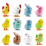 FUNNISM 12 Pcs Wind-Up Jumping Cute and Colorful Bunny and Chicken Toys for Easter Basket Fillers, Easter Egg Hunt, Treasure Chests, Classroom Prize Supplies, Birthdays, Kids Gifts and Party Favors
