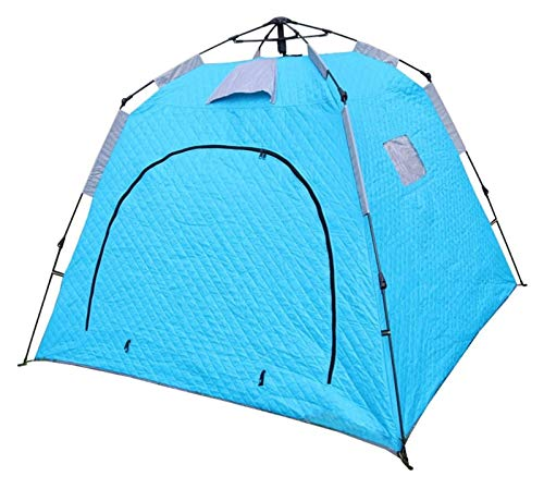 Configure fácilmente Tiendas de Pesca de Hielo al Aire Libre a Prueba de Viento y espesadas con algodón para Mantener la Pesca cálida y a Prueba de frío. (Color : Blue, Size : 210x210x170cm)