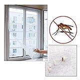 NaiseCore Mosquitera autoadhesiva para ventana, grande, malla para insectos, mosquitos, mosquitos, color blanco