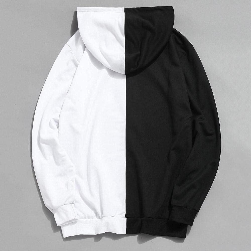 Aayomet Men's Pullover Hoodies Patchwork Long Sleeve Hooded Sweatshirts Casual Workout Sport Sweaters Blouses Tops