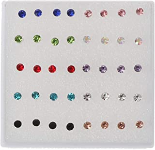 niumanery 20 Pairs Colorful Faux Rhinestone Plastic Ear Studs Hypoallergenic Earrings Mixed Colors 3mm