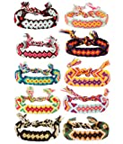 YADOCA - 10 pulseras de la amistad para hombres y mujeres hechas a mano con hilo bohemio para coleta de pelo