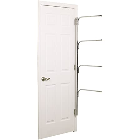 Household Essentials H12003 Hinge It Clutterbuster Four Bar Hanging Valet Behind The Door Clothing And Towel Rack Chrome Home Kitchen