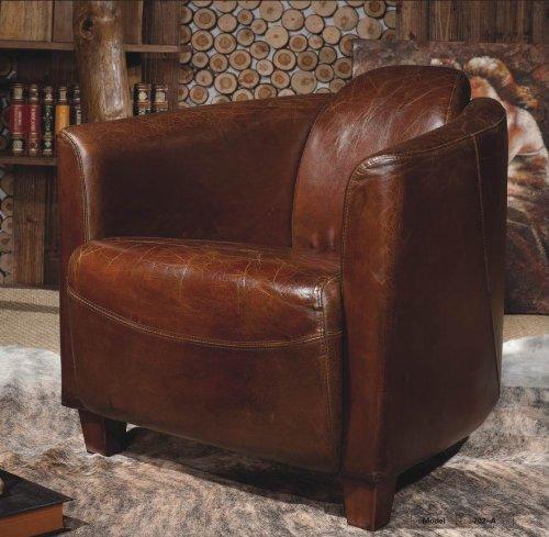 Echtleder Vintage Sessel Ledersessel Braun Design Lounge Clubsessel Sofa Möbel NEU 443