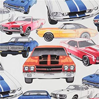 White Alexander Henry Fabric Colorful car Pure Muscle (per 0.5 Yard Unit)