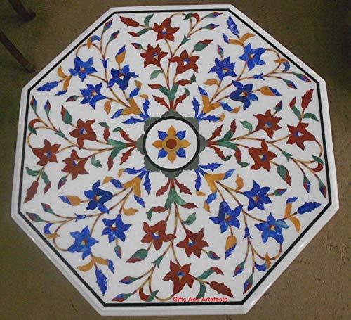 Cadeaus en artefacten Octagon wit marmer Patio salontafel top inlay werk met edelstenen bladeren patroon koninklijke tafel, 24 inch