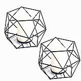 JUNGEN 2er Set 3D Geometrisch Kerzenständer Kerzenhalter Metall Vintage Kerzenständer Teelichthalter Deko Tischdeko für Hochzeit Weihnachten Wohnzimmer, 13 × 10 cm(Schwarz)