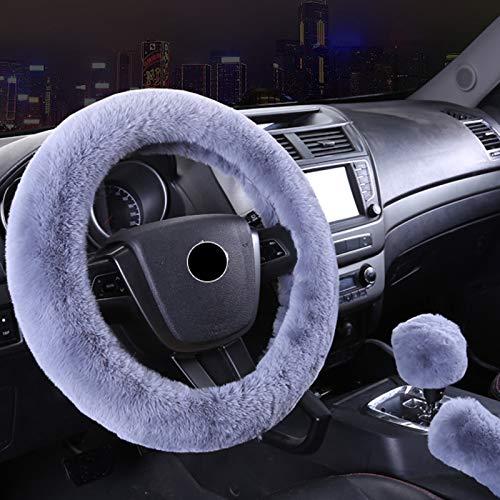 Andux Zone Copertura del freno a mano antiscivolo Decorazione del volante di automobile Ingranaggio universale della copertura della peluche di cambiamento caldo di inverno FXPT-01 (Grigio)